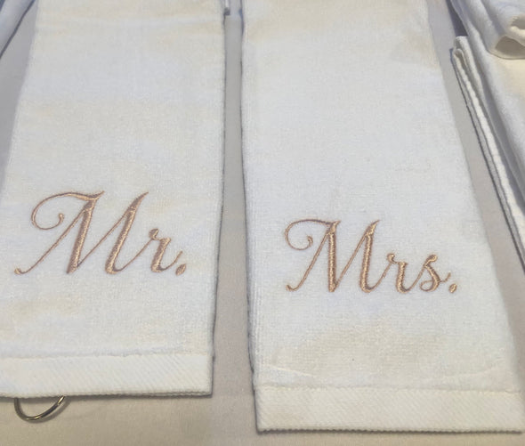Embroidered Hand Towel - Mr. & Mrs.