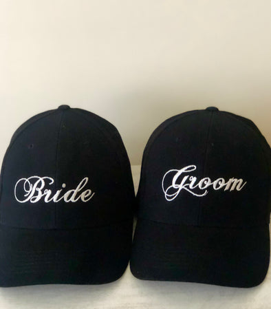 Embroidered Bride & Groom Hat Set (Black)