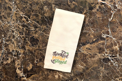 Embroidered Kitchen Towel - Thankful Grateful Blessed