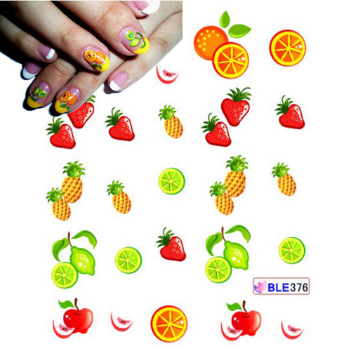 Nail Art Stickers Water Transfers Strawberry Pineapple Orange Lime 🍓🍍🍊🍈