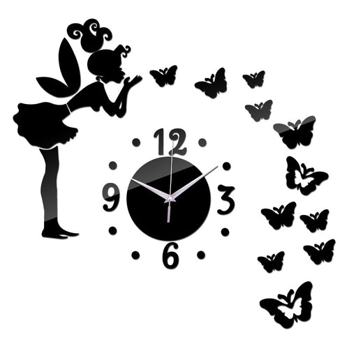 Wall clock Quartz Acrylic with fairy and butterfly stickers