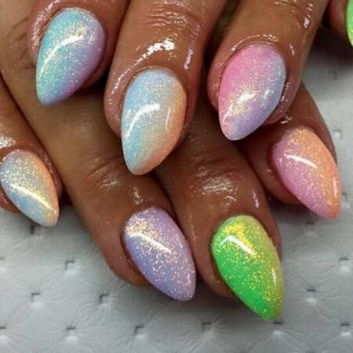 Nail glitter powder - mermaid colours