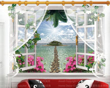 Wall Pictures Stickers Removable Beach/Sea 3D Window Scenes Mural Exotic Beach View