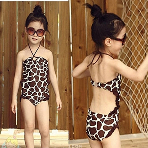 Girls leopard swimming costume