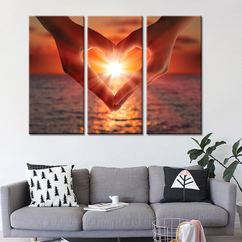 Heart Mural in 3 pieces - Oil Painting