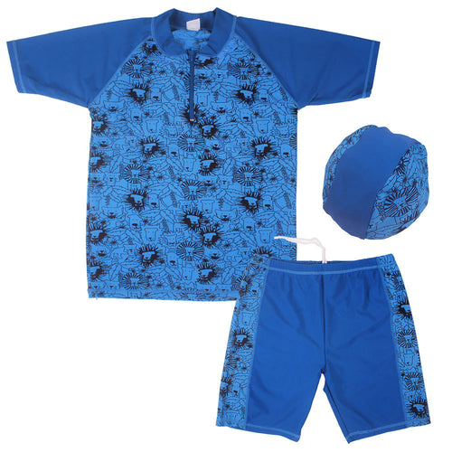Boys Ultraviolet Protection Swimsuit and Cap