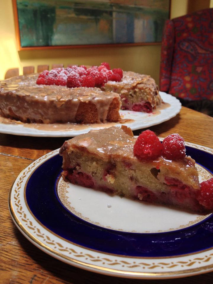 Raspberry Almond Olive Oil Cake with Brown Butter Glaze
