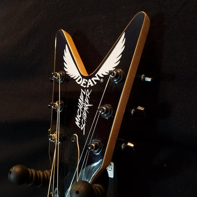 Dean Michael Schenker Flyer V Black and White Electric Guitar