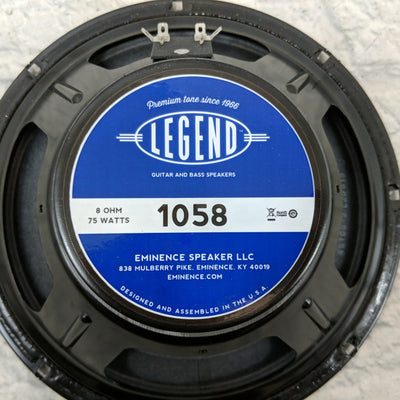 "Eminence Legend 1058 10"" inch Guitar Speaker, 75 Watts at 8 Ohms"