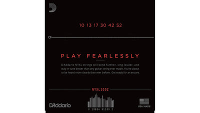 D'Addario NYXL1052 Light Top Heavy Bottom Nickel Wound Electric Guitar Strings 10-52