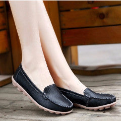 Genuine Leather Flat Shoes - Women