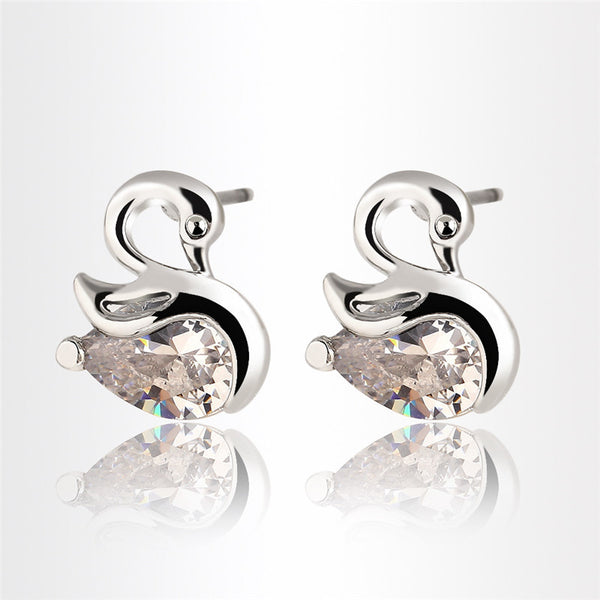 Crystal Swan Earrings