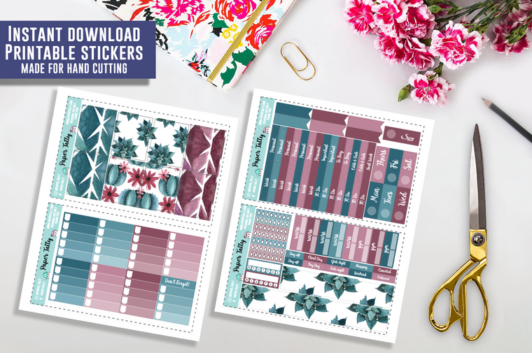 Succulent - Downloadable planner sticker kit