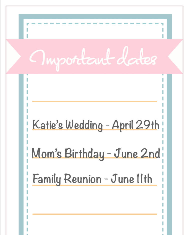photo relating to Printable Dates called Essential dates printable