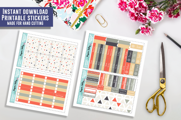If You Were a Triangle You'd Be Acute One - Downloadable planner sticker kit
