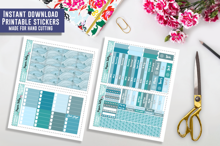 Ocean Waves - Downloadable planner sticker kit