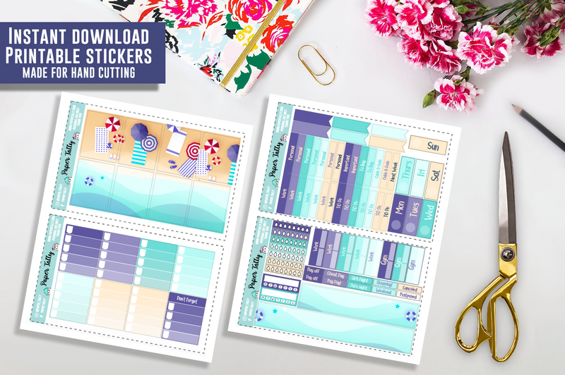 Beach day - Downloadable planner sticker kit