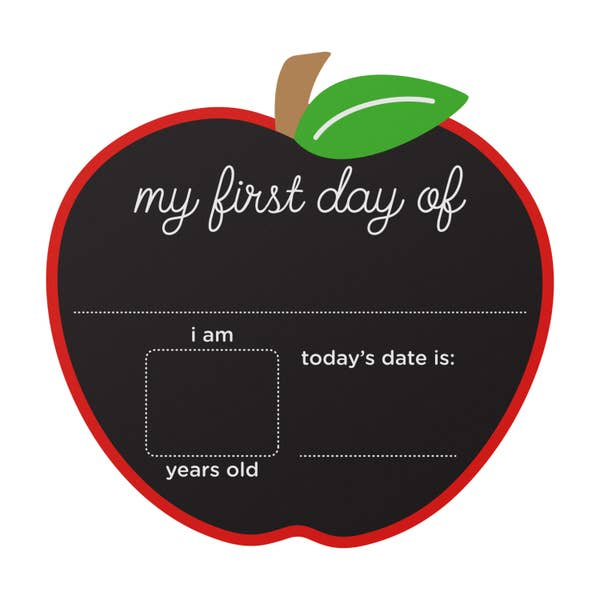 First and Last Day Reversible Apple Chalkboard Sign