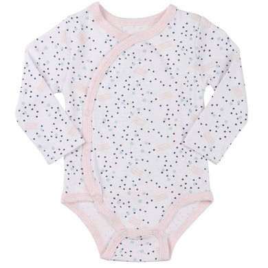 Pink & Navy Abstract Dot Stripe Kimono Bodysuit