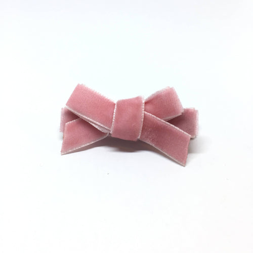 Rose Pink Velvet Mini Bow