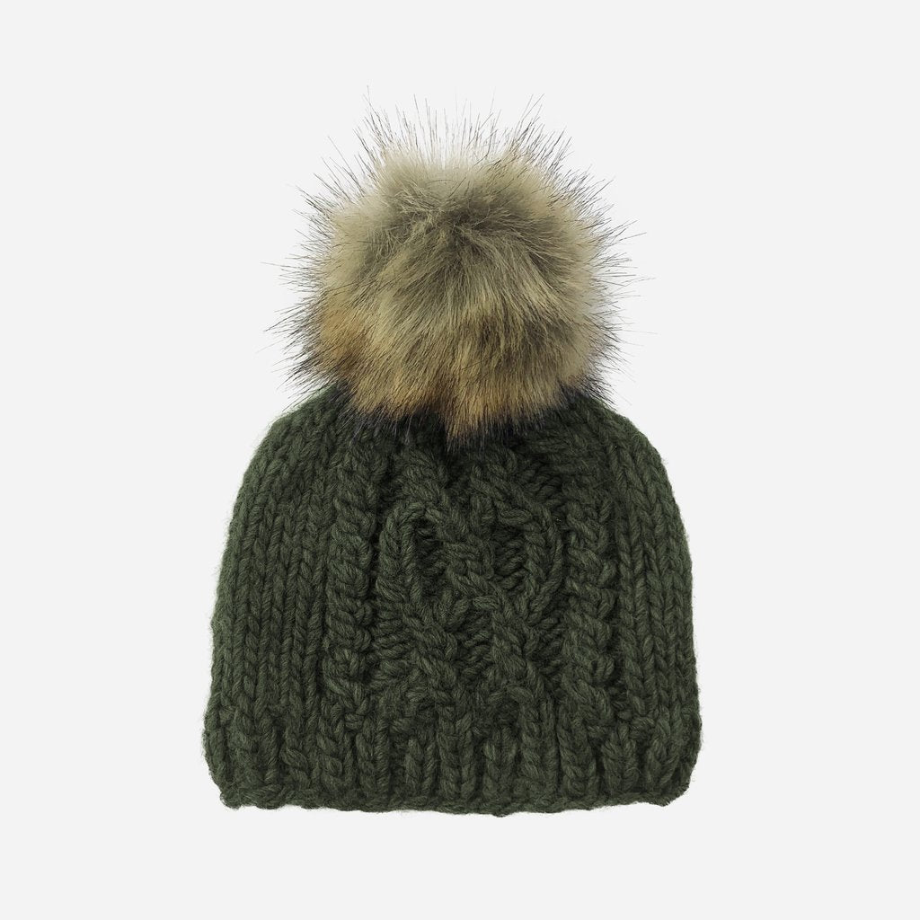 Cable Knit With Fur Pom - Rifle Green