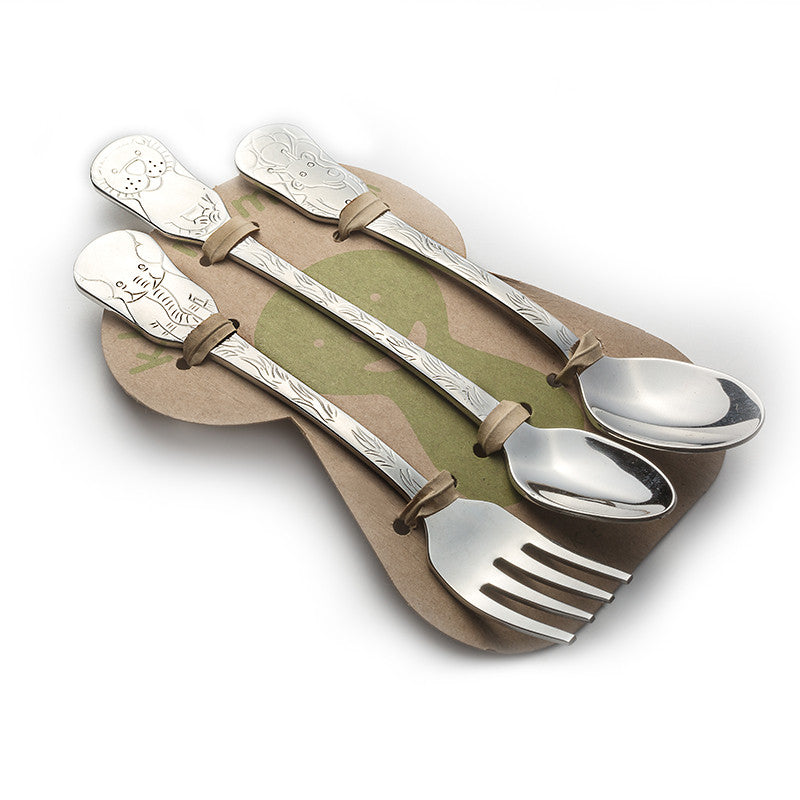 3-Piece Baby Flatware Set- Safari Friends