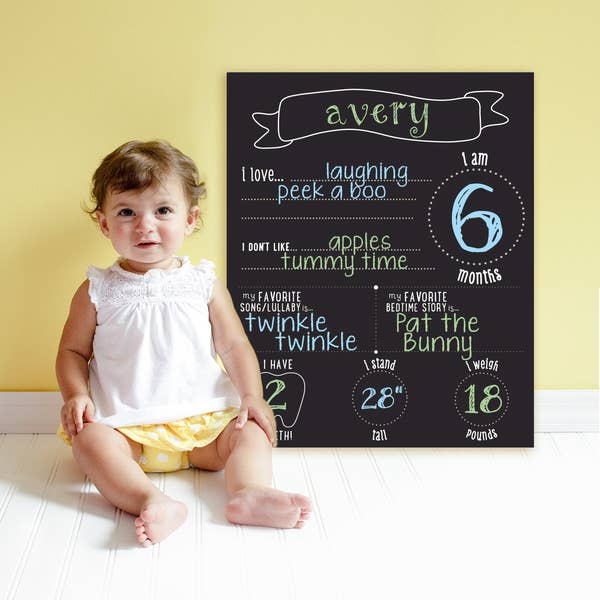Baby Highlights Photo Sharing Chalkboard