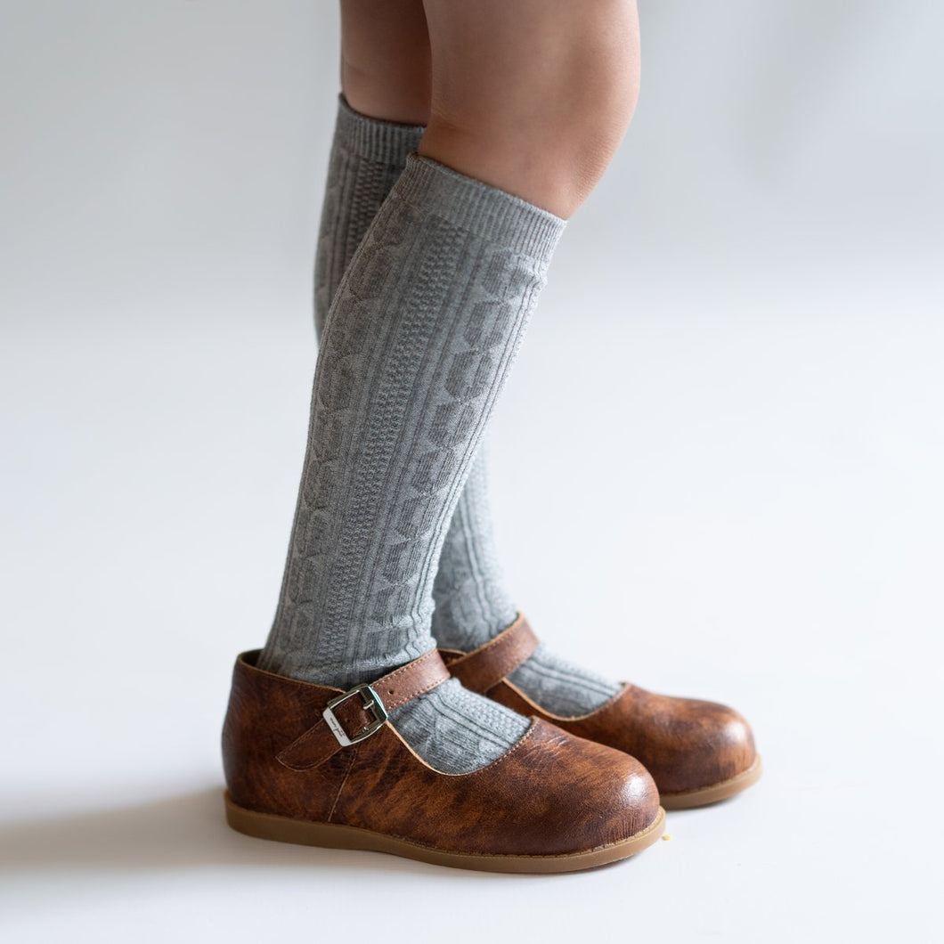 Grey Knit Knee High Socks