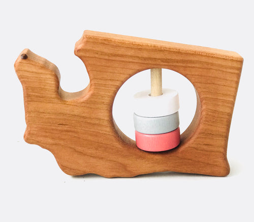 Washington Wood Rattle - Coral & Grey