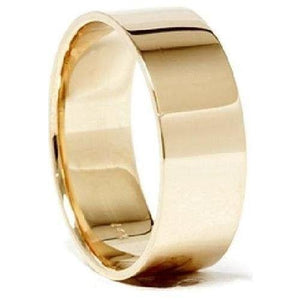 7mm Men's Women's Solid 14K Yellow Gold Plain FLAT Wedding Band sizes 4-13