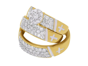 14k Yellow Gold Her and His 2 Ct Genuine Diamond Cross Trio Wedding Rings Set