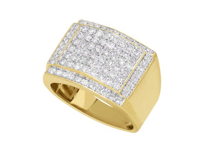 10k Solid Yellow Gold 2 Ct Genuine Diamond Pave Men's Ring