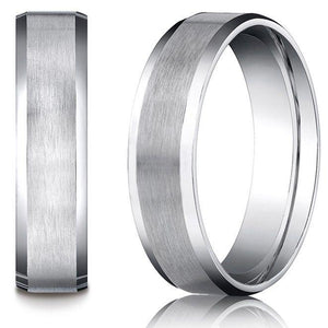 7MM Men's Women's Solid 14K White Gold Satin/High Polish Beveled Edge Wedding Band