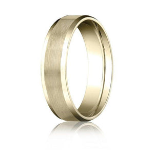 6MM Men's Women's Solid 14K Yellow Gold Satin/High Polish Beveled Edge Wedding Band