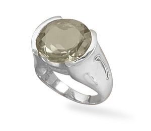 925 Sterling Silver Green Amethyst Ring