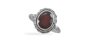 925 Sterling Silver Faceted Garnet Ring with Rope Edge