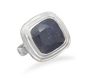 925 Sterling Silver Square Faceted Rough-Cut Sapphire Ring