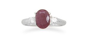 925 Sterling Silver Rough-Cut Ruby and CZ Ring