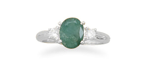 925 Sterling Silver Rough-Cut Emerald and CZ Ring