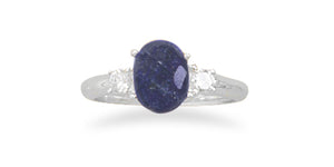 925 Sterling Silver Rough-Cut Sapphire and CZ Ring