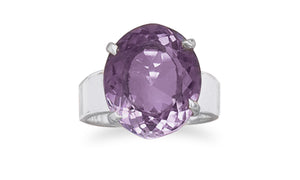 925 Sterling Silver Oval Faceted Amethyst Ring