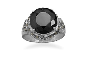 925 Sterling Silver Black CZ and Marcasite Ring