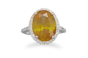 925 Sterling Silver Yellow and Clear CZ Ring