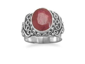 925 Sterling Silver Oval Rough-Cut Ruby Ring