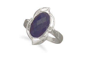 925 Sterling Silver Oval Rough-Cut Sapphire Ring