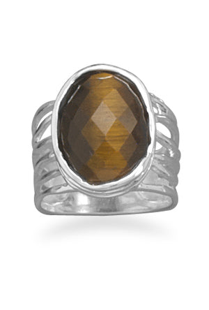 925 Sterling Silver Oval Tiger's Eye Ring