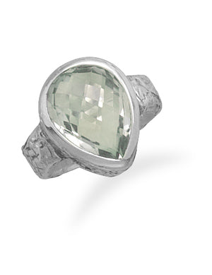 925 Sterling Silver Oxidized Green Amethyst Ring