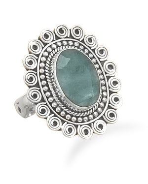 925 Sterling Silver Oval Rough-Cut Emerald Ring