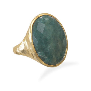 925 Sterling Silver Hammered 14 Karat Gold Plated Rough-Cut Emerald Ring