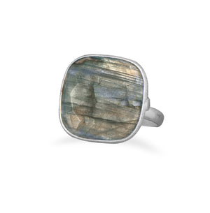 925 Sterling Silver Soft Square Labradorite Ring